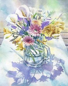 水彩画・花「テラスの花」福井良佑