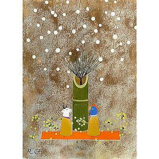 和風イラスト・干支「初ごと」アクリル絵の具:正月の絵・福井良佑