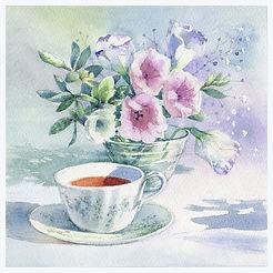 水彩画・花「午後の憩い 」トルコ桔梗と紅茶/ 福井良佑