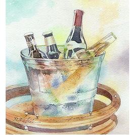 「ワインクーラー 」水彩画