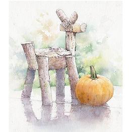「収獲の頃」水彩画:木製の鹿と大きな南瓜。山梨県北杜市、萌木の村にて