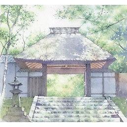 水彩画・日本の風景「緑風(京都・法然院)」福井良佑