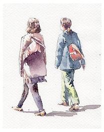 「仲良し」水彩画:歩く人物