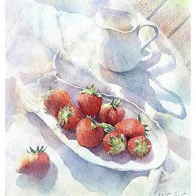 「苺とミルクポット」水彩画