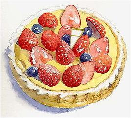 「苺のタルト」水彩画