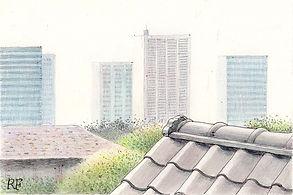 新聞連載小説の挿絵:水彩とペン