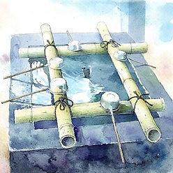 日本の風景「手水舎」水彩画・福井良佑