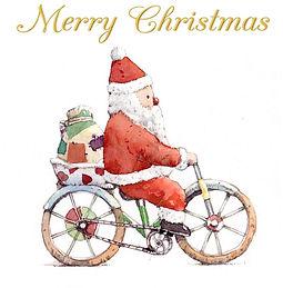Bicycle Santa 水彩画イラスト
