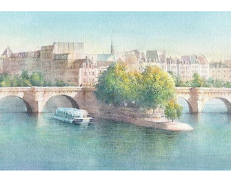 海外風景「ラ・セーヌ(パリ)」水彩画・福井良佑