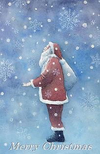 White Christmas  水彩画:降り始めた雪にサンタクロースが・・