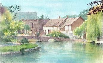 水辺の村(イングランド・コッツウォルズ地方ーボートン・オン・ザ・ウォーター)」水彩画、福井良佑