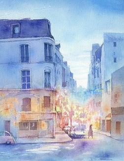 海外風景「パリ7区の夕暮れ: パリ・サンジェルマン」水彩画・福井良佑