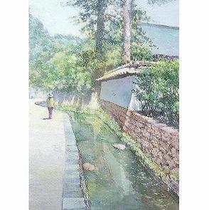水彩画・日本の風景「蝉時雨(鎌倉・建長寺)」福井良佑
