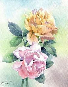 水彩画・花「薔薇」福井良佑