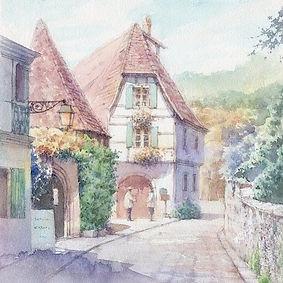 海外風景「幸せな朝(フランス・アルザス)」水彩画・福井良佑
