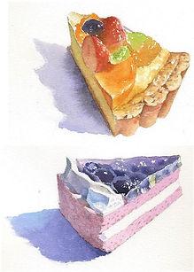 「ケーキ」水彩画