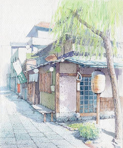 水彩画・日本の風景「柳の下(鎌倉)」福井良佑