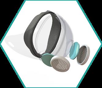 respirator with filter breakdown