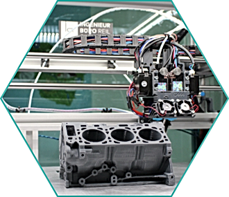 3D printed engine block in clean factory