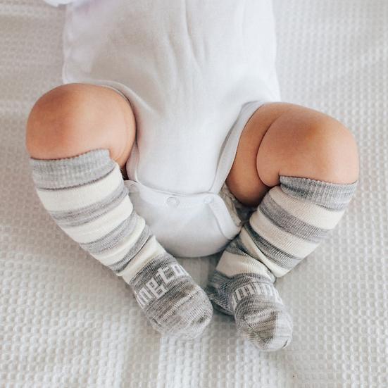 Lamington Merino Knee High Socks - Pebble