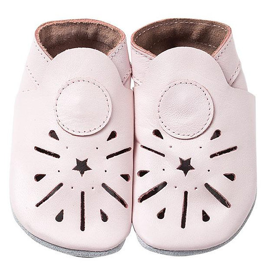 Pitter Patter Leather Shoes - Pink Cutouts