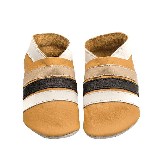 Pitter Patter Leather Shoes - Mustard Stripes
