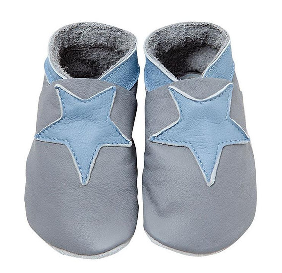 Pitter Patter Leather Shoes - Grey & Blue Stars