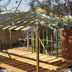 Rear extension in Yeronga - Framing stage