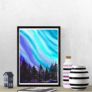Digital Watercolor Northern Lights