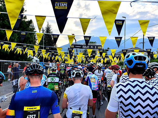L'Etape du Tour start line, with riders from all over the world ready to race this fabulous cycling event.