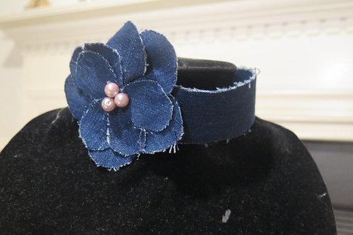 Denim Floral Necklace