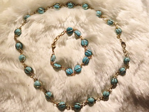 """Leona"" Blue Turquoise Jewelry set"