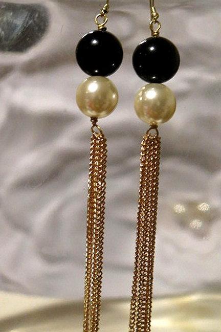 """Saskia"" Long White and Black Pearl earrings"