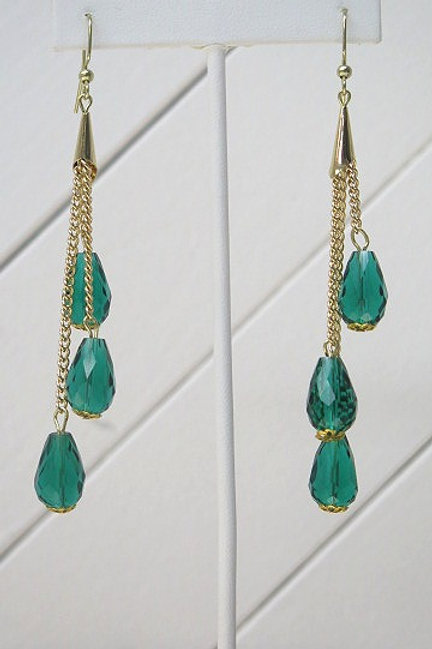 Green Gold Drop Earrings