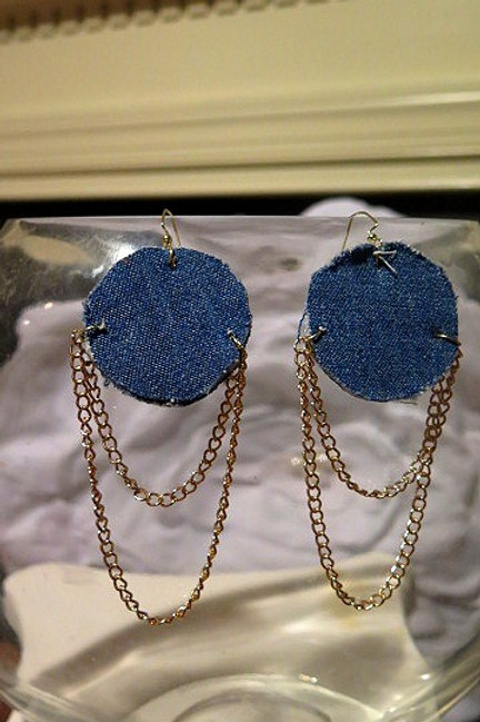 Round Denim Earring
