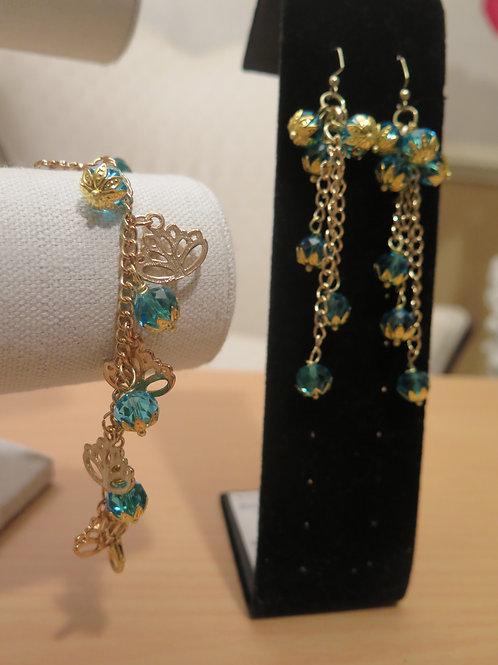 """Saskia""/""Reina"" Blue Earring  Bracelet Set"