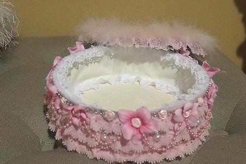 Pink  Round Victorian Box