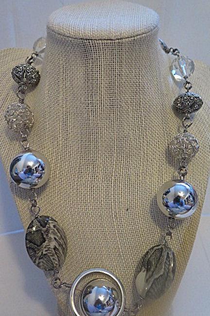 """Empress"" Silver Long Necklace"