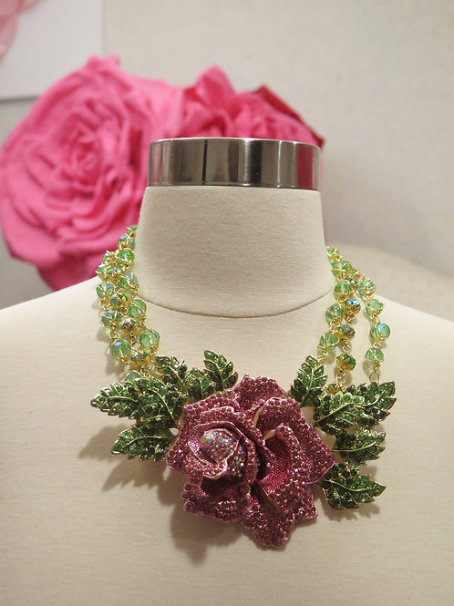 """""""Queen Mother' Floral Rhinestone Necklace"""