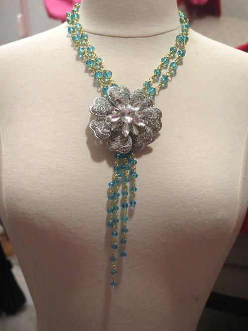 'Princess' Floral Rhinestone Necklace