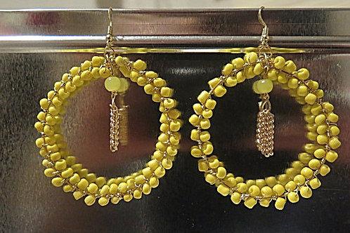 """Yellow beaded """"Ziva""""  Hoop Earrings"""