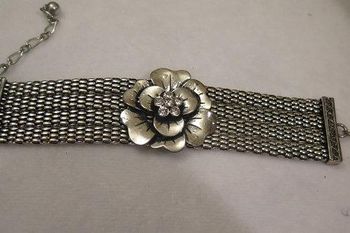 Silver Flower Mesh Bracelet