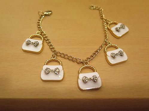 White Purse Charm Bracelet