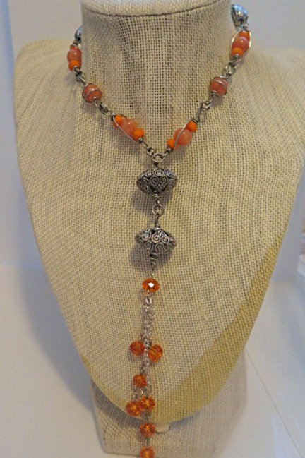 Orange Fringe Necklace