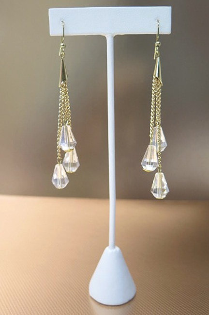 Gold Tone Dropping Earrings