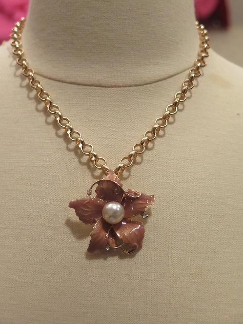 'Princess' Brown Floral Necklace