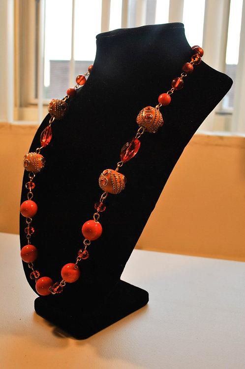 Orange Long Summer Necklace