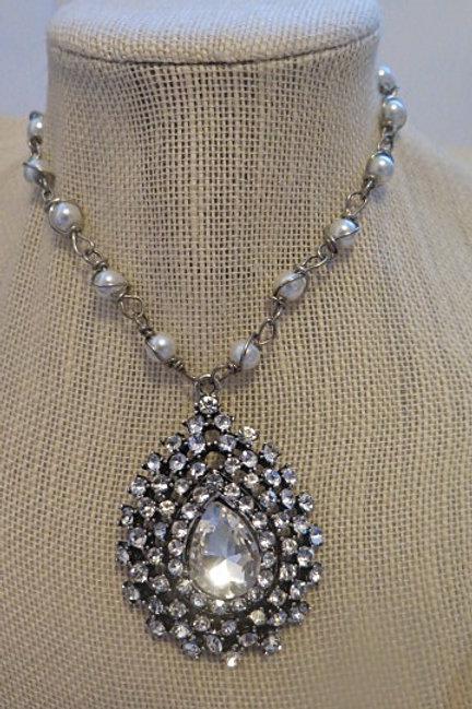'Parisien' Silver Long Necklace with pendant