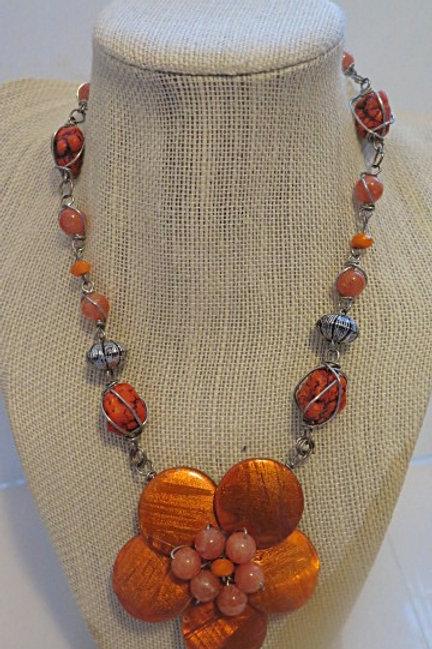 """""""Florette"""" Orange Floral Necklace"""