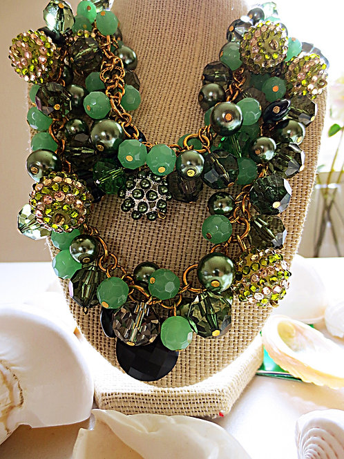 """Xandra"" Green Cluster Necklaces"